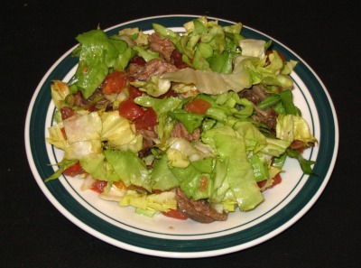 """... : Skirt Steak Salad with """"Wilted"""" Greens, Tomato, and Lime Review"""